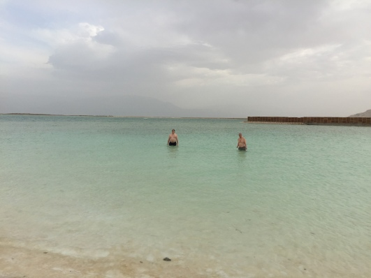 Malone and a friend swimming in the great salt sea.